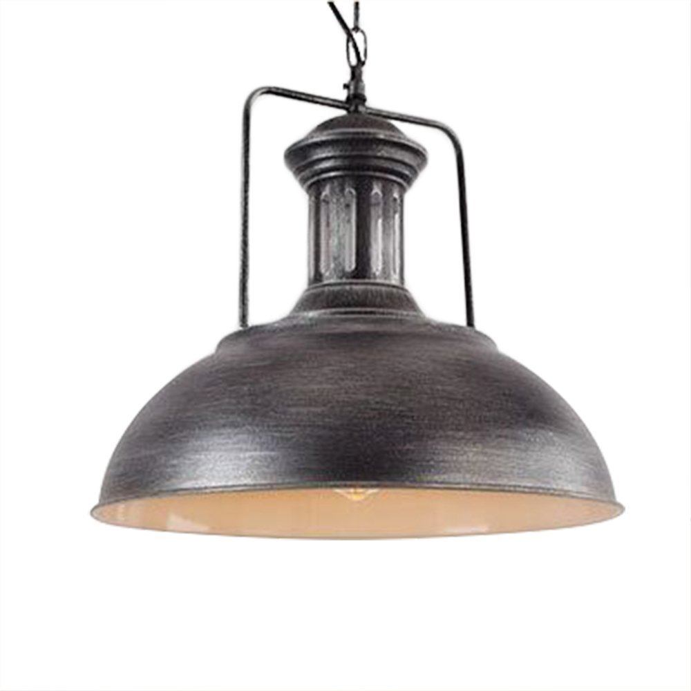 Industrial Pendant Light, Frideko Retro Vintage Metal Rustic Flush Mount Loft Ceiling Pendant with Chain for Kitchen, Living Room, Restaurant (Type A- Silvery Black, Dia.: ø33CM)