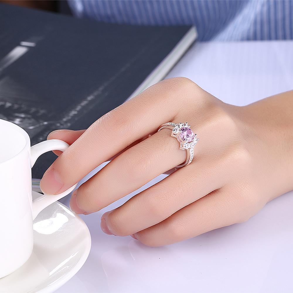 Latest New Design Pink Crystal 5925 Silver Diamond Engagement Ring ...