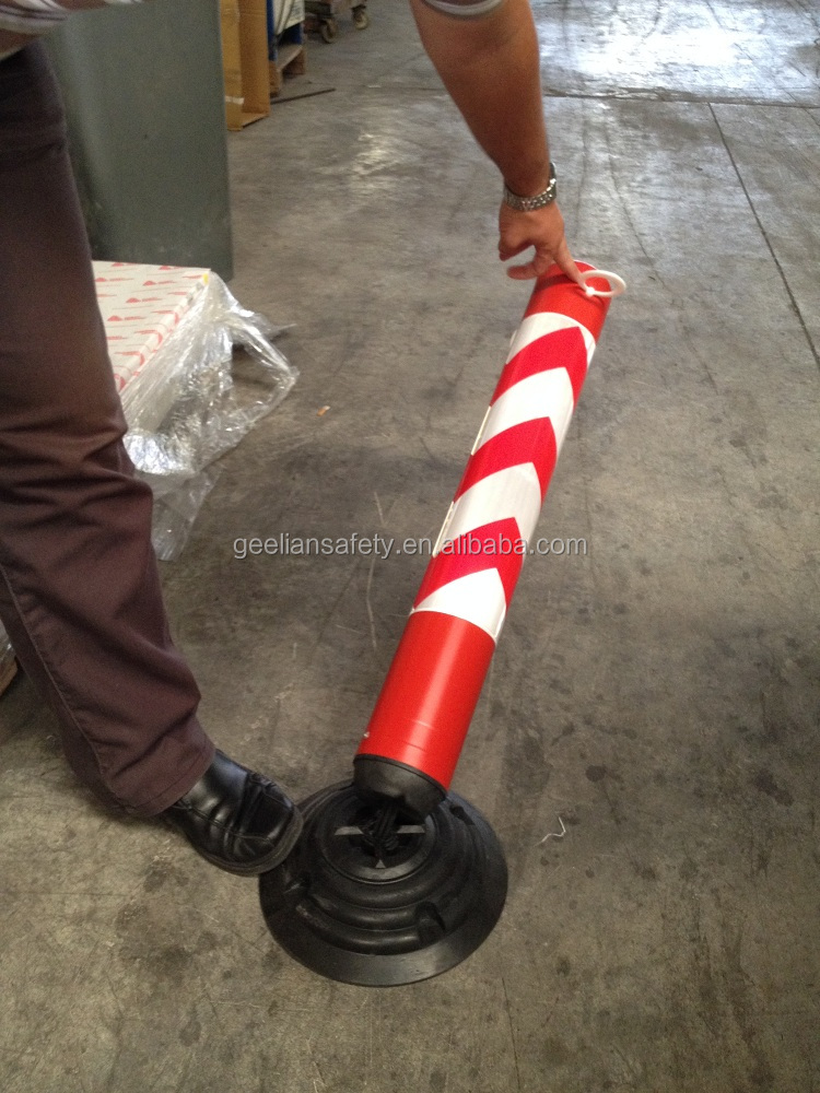 rubber base pu warning plastic safety column with reflective film