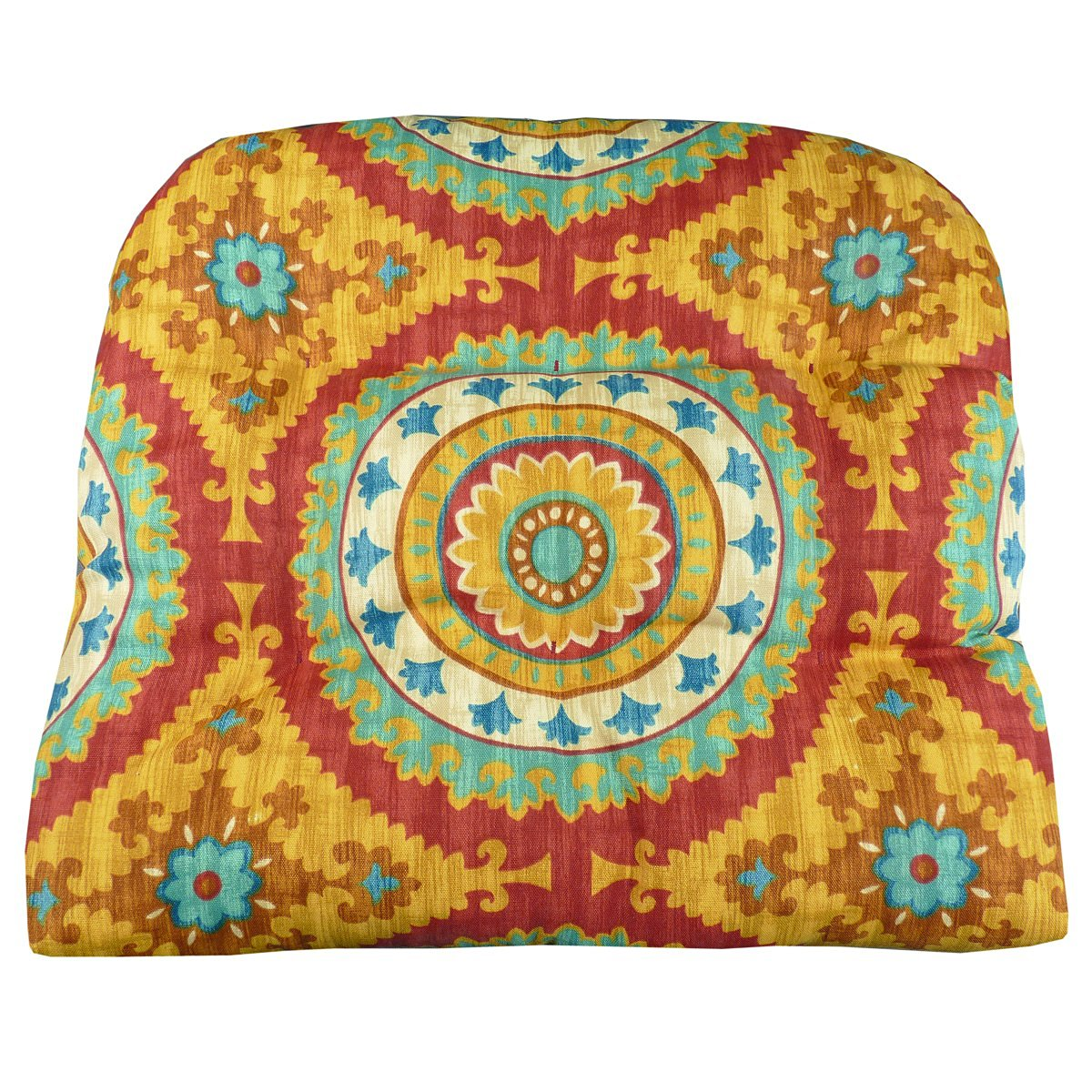 Patio Chair Cushion - Inessa Suzani Mandalas: Red, Gold Teal - Size Large - Indoor / Outdoor, Mildew Resistant, Fade Resistant - Reversible, Latex Foam Fill, Tufted Seat Cushion, Box Edge Chair Pad - Outdoor Furniture Replacement Cushion for Patio Armchair - Wicker Chair, Adirondack Chair