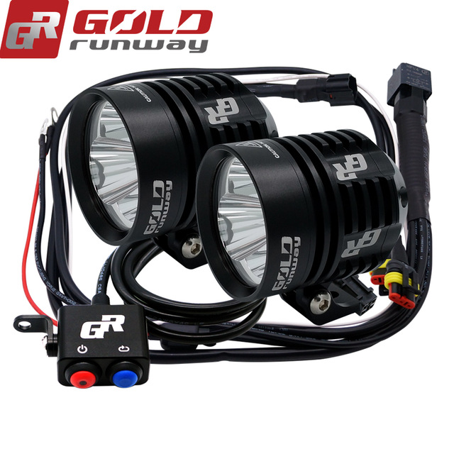 GOLDRUNWAY 30x GR Designs Round Motorcycle Race Led Light Headlight CopperDrive 30W 3000LM 2.6A for BMW For Harley Davidson
