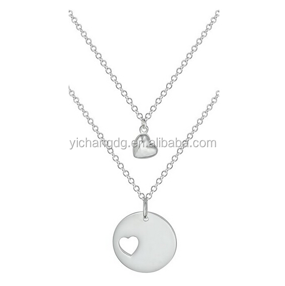 Mother Daughter Necklaces, Silver Plated Heart Charm and Heart Cut Out Matching Pendant Necklaces