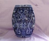 Hand painted blue and white porcelain vase and jar of Chinese blue