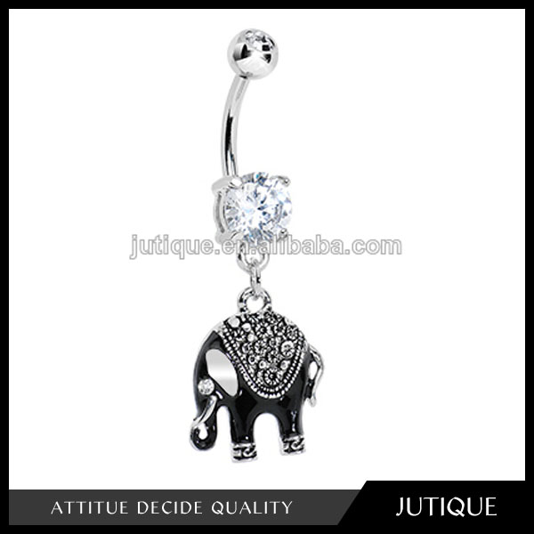 Clear Gem Black Mystic Elephant Dangle Belly Ring