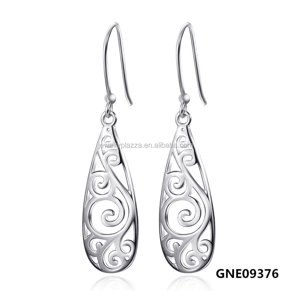 Sterling Silver Earrings,Filigree Teardrop Earrings 2017 Fashion Jewelry