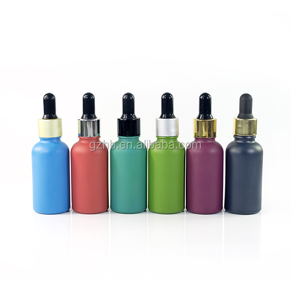 tao bao high quality cosmetic frosted black glass jar and essential oil 30ml matte black/white/red/purple glass bottle