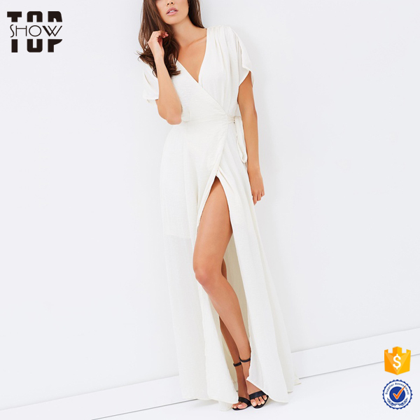 Guangzhou oem satin outer woman white maxi dress with v neckline