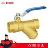 TMOK female thread forged sand blasted and brass natural color cw617n brass ball valve with y strainer price made in china
