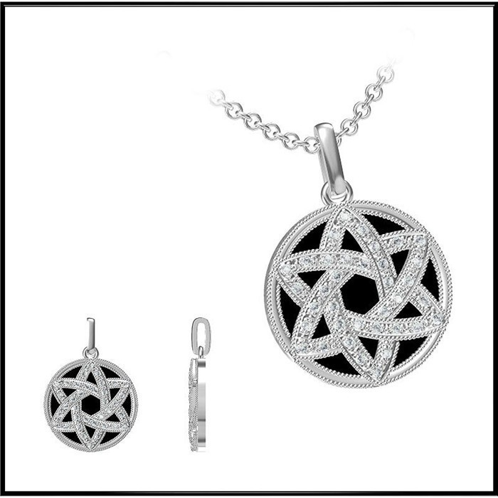 Modern Personalized Design Jewelry 925 Sterling Silver Pendant Round Flat Flower Design