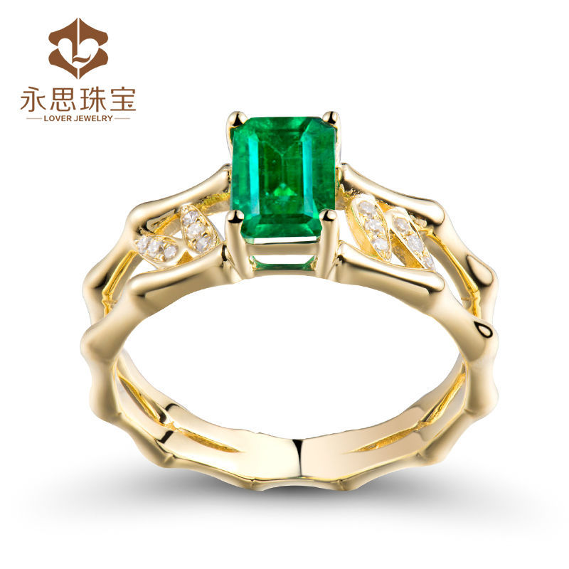 New Design Natural Emerald Stone Ring Emerald Cut 5x7mm In Solid