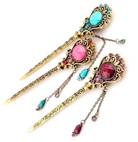 Best Sales Gold Plated Retro Hair Sticks For Women Vintage Costume Flower Metal Hair Sticks