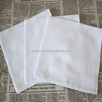100% cotton white handkerchief for men