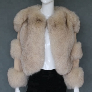 Lady fashion fur overcoat fox fur winter coat with rex rabbit fur