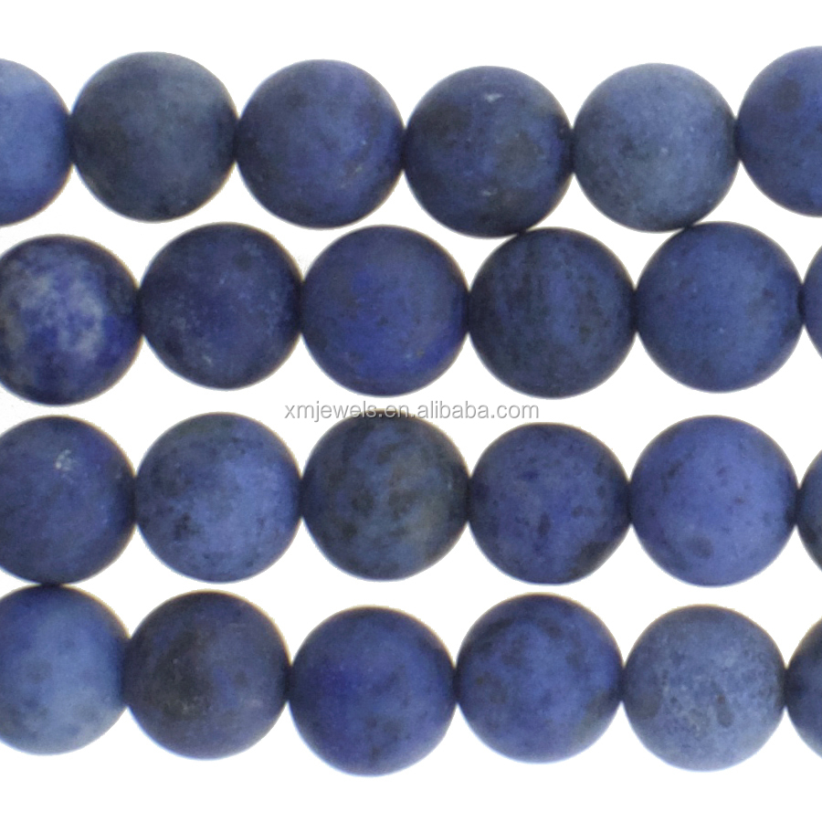 Blue Denim Genuine Stones Matte Dumortierite Round