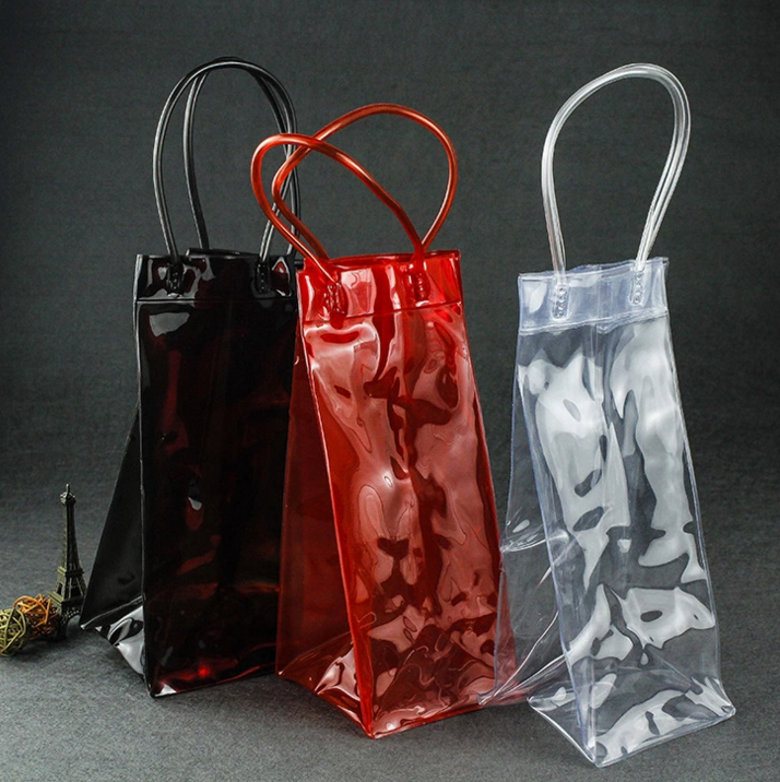 Wholesale Custom PVC plastic ice bottle bag for wine