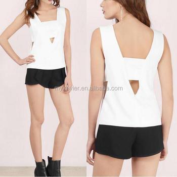 d2248234e5e1f Nuevo diseño blusas con bandeau y V recortes diseñan las blusas últimas  espalda cremallera cierre camisas