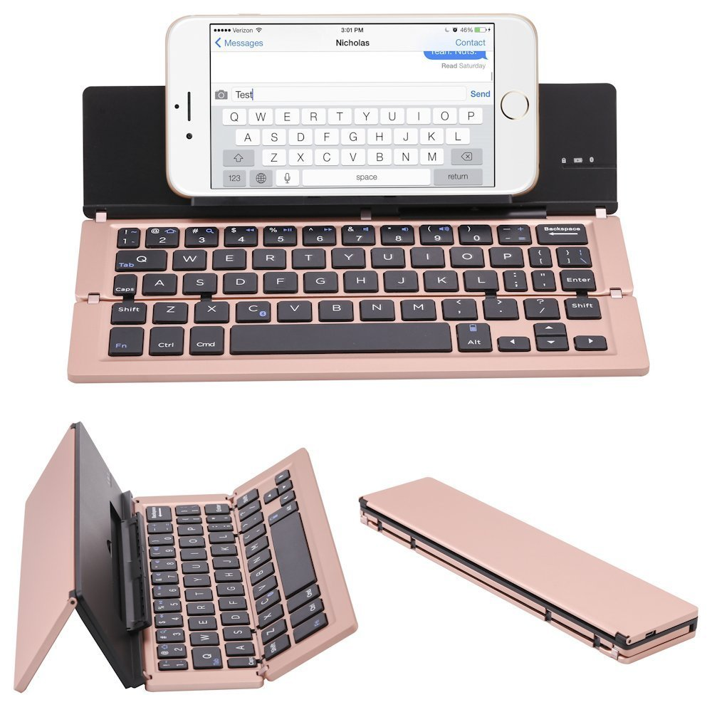 ICE FROG Wireless Bluetooth Keyboard, Ultraslim Portable Universal Aluminum Alloy Foldable Bluetooth 3.0 Keyboard Kickstand Holder For iPhone 7 6 6S Plus iPad Samsung IOS, Android, Windows - Rose Gold