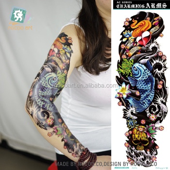 Ac 0122016 Best Quality Coolest Super Big Temporary Tattoos Fake Blue Big Fish Skull Full Arm Sleeve Body Tattoo Sticker Buy Full Arm Sleeve