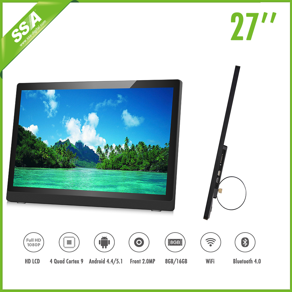Wall mounting 27 inch HD LED AD player with USB input