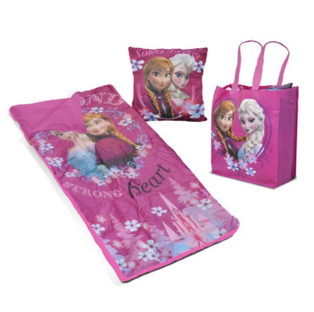 Disney Frozen Girls Sleepover Set - Sleeping Bag, Tote Bag & Cuddle Pillow