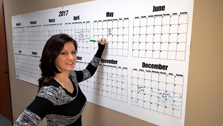 """Oversize Dry Erase Large Wall Calendar- 2018 Wall Calendar 36"""" High x 96"""" Wide"""