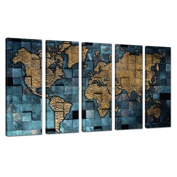New world map canvas print5 panel home decor wall artmetal color new world map canvas print5 panel home decor wall artmetal color canvas publicscrutiny Choice Image