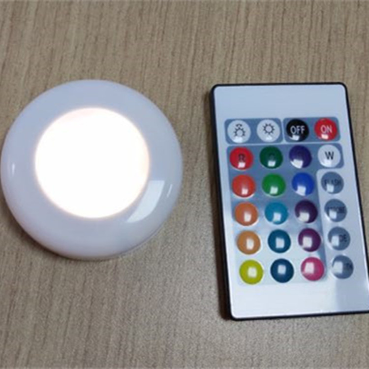 Surface Mounted Cabinet Closet Dimmable RGB Remote Control LED Puck Light