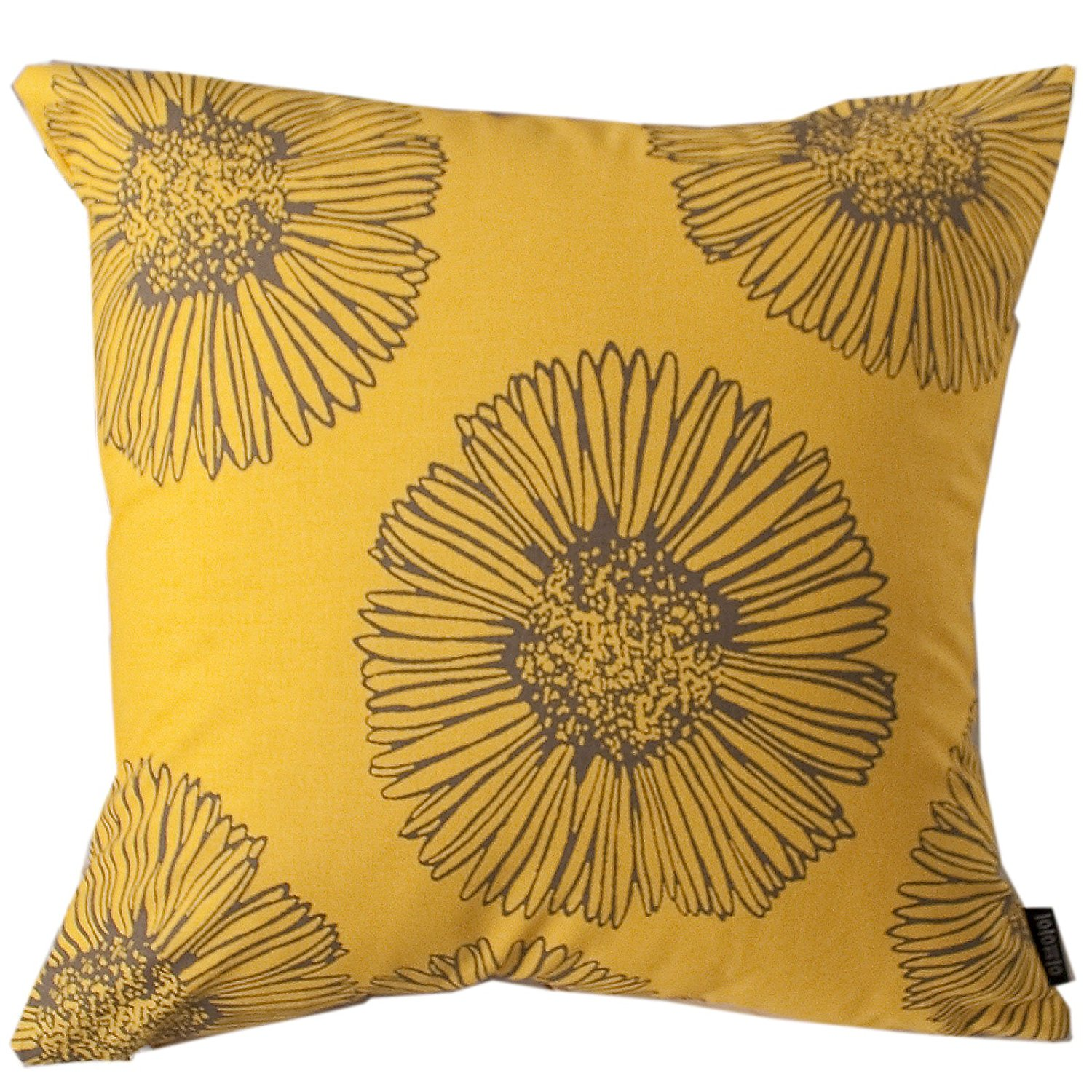 """Evei Big Flowers Pattern Gold Color Cotton Home Decorative Throw Pillow Case / Cushion Cover Square 16"""" 18"""" 20"""" Choice (16""""x16""""inch(40x40cm))"""