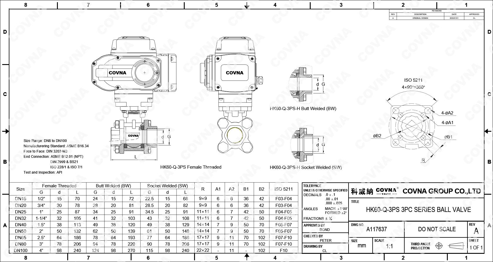 COVNA CF8M 1000 WOG Paslanmaz Çelik BSP NPT Kadın Konu 3 PC Küresel Vana