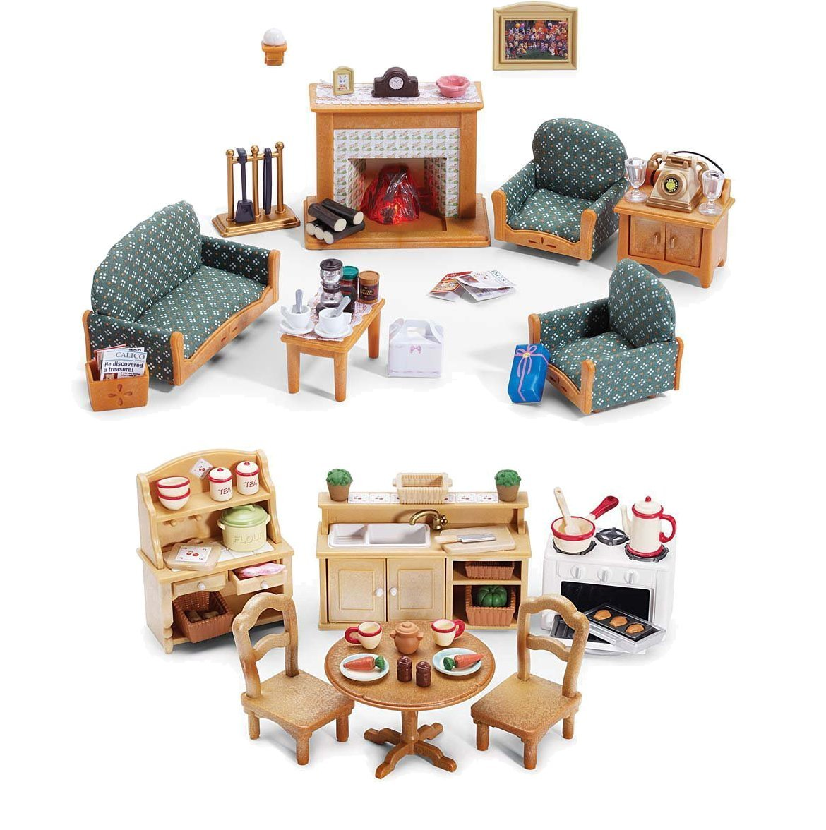 Calico Critters Deluxe Living Room Set and Deluxe Kitchen Set