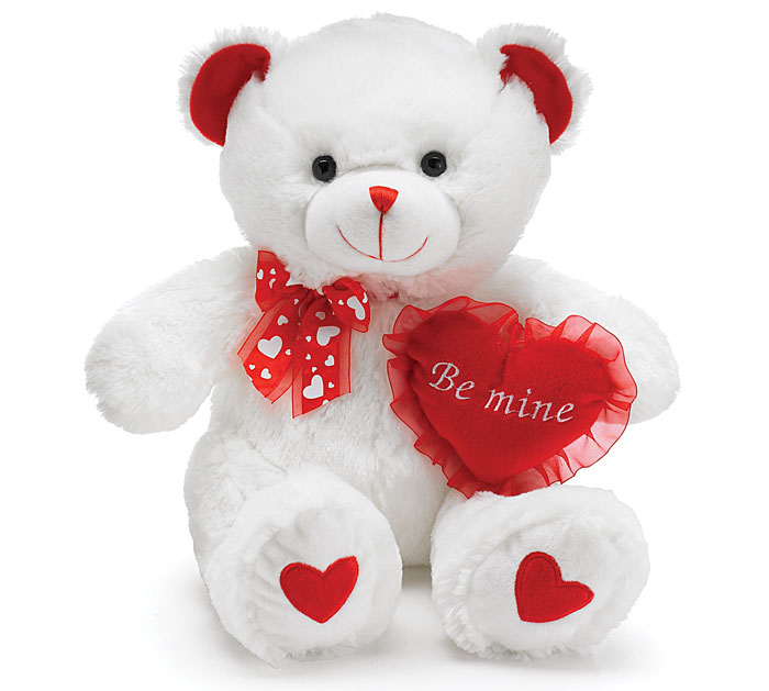 Best Quality Plush Valentines Day White Teddy Bear With Red Heart