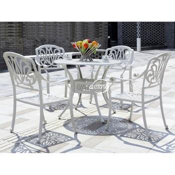 Derong Blanc Ou Noir Diamètre 90 Cm En Fonte D\'aluminium Ensemble De Salle  À Manger Table Et Chaise De Jardin Dr-3250 - Buy Table Et Chaise En Fonte  ...