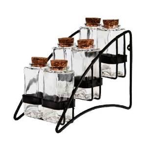 Modern Design Herb, Tea & Spice Storage Rack w/ 6 Glass Spice Jars ~ G146 Contemporary Black Metal Spice Rack with 6 Cork Top Rectangular 3.4 oz. Glass Bottles
