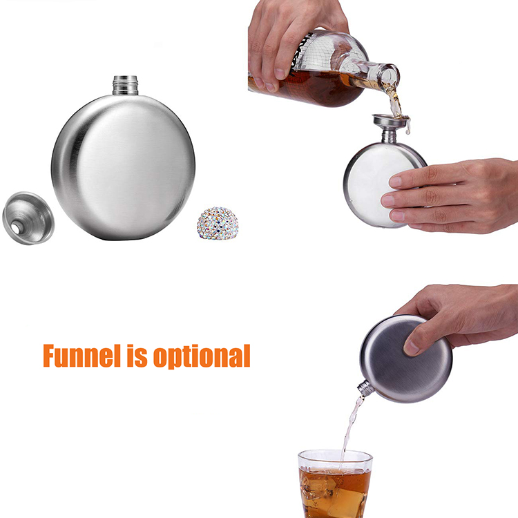 5oz Crystal Lid Round Stainless Steel Hip Flask (Silver)
