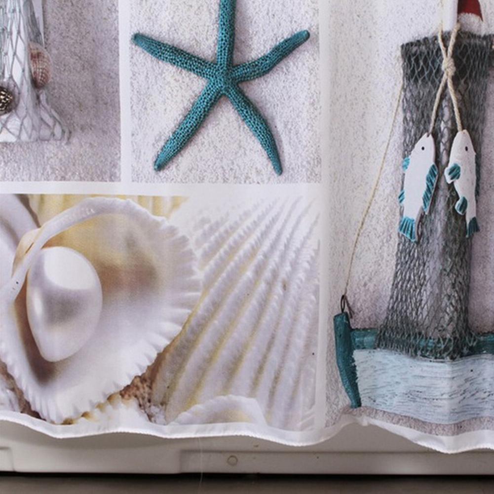 gro handel gro handels seashell sternfisch impr gniern duschvorhang polyester gewebe bad bad. Black Bedroom Furniture Sets. Home Design Ideas