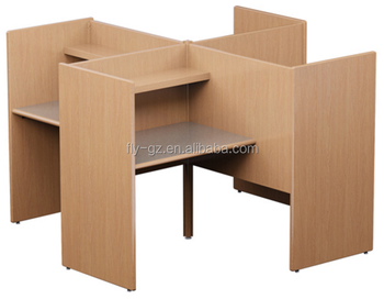 4 Person MDF Wood Computer Desk Reading Room Study Carrel(PC 16)