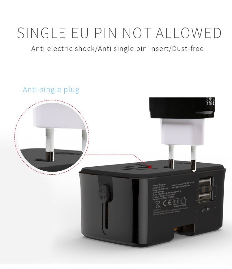 Home appliances gift items travel power plug adapter travel adapter with powerbank with usb c