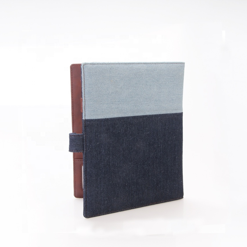 Factory Supplier Leather Textile Card Holder With Window A4 Paper Cover