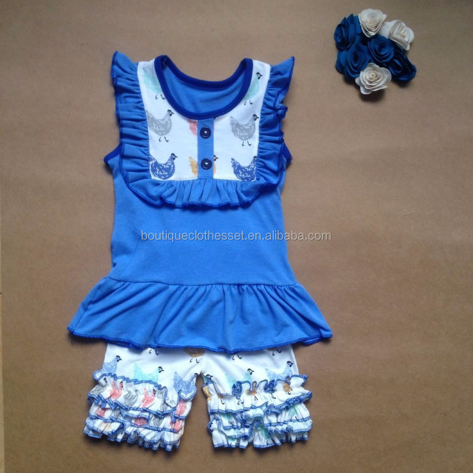 40cbed2a4 Lovely chicken outfit kids summer clothes set girls ruffle short chicken  sets