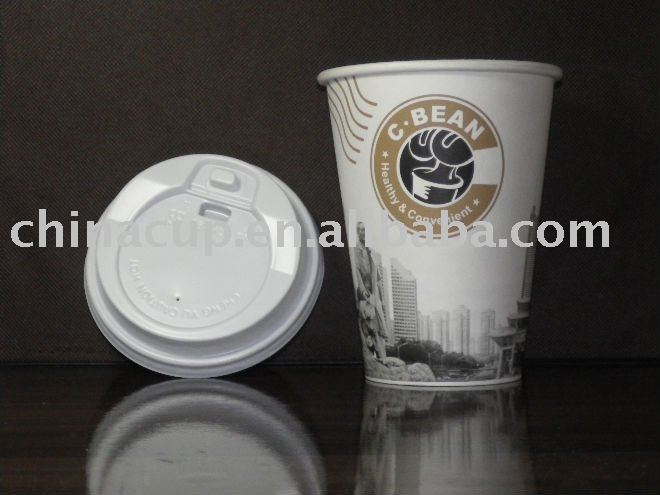 12oz paper hot cup and lid disposable cafe cup