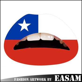 Chile flag temporary lip tattoo sticker face tattoo sticker