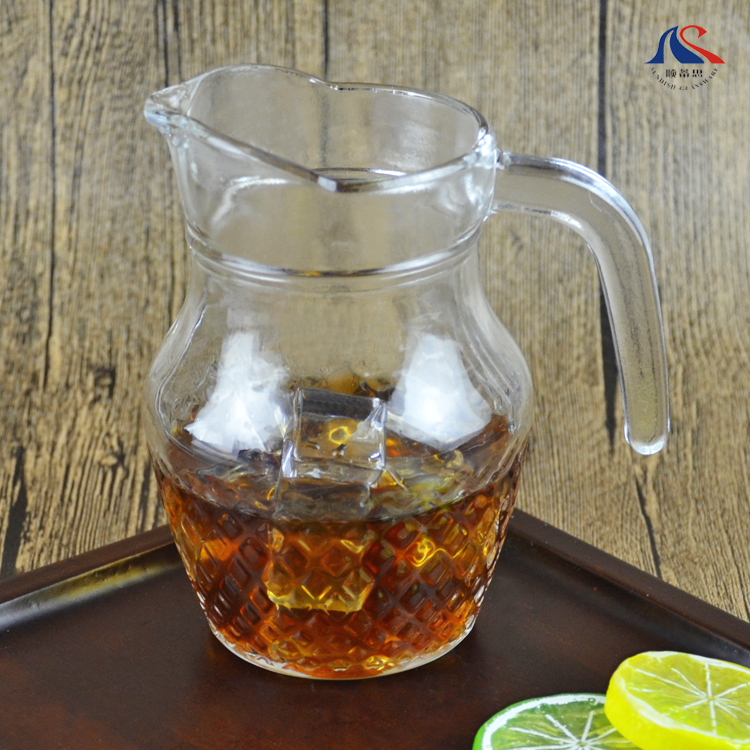 Wholesale Cheap Price Glass Tea Pitcher 0.5L Beer Jug with Spout