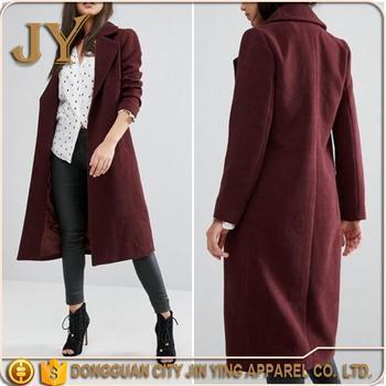 Ladies Garment Beautiful Long Burgundy Coats For Women Knee Length ...