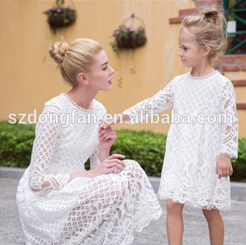 08f52e86645b9 European style Autumn Winter mother daughter dresses casual solid lace style  matching mother and daughter clothes
