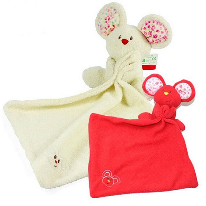 New 1pc Baby Comforter Toy Cute Cartoon Animal Soft Plush Rattle with Ring Bell Multifunctional Saliva towel Baby Care
