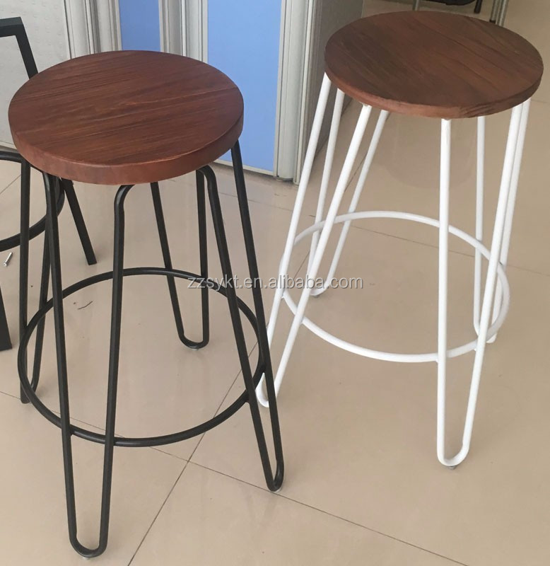 Vintage metal and wooden hairpin pub counter bar stools supplier
