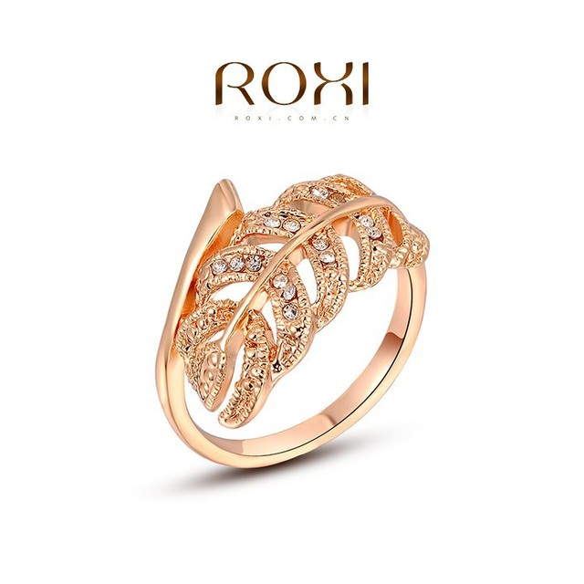 ROXI Fashion Jewelry Rose Gold Plated Engagement Ring with Leaves shaped CZ Diamond Kaner wholesale