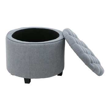 Velvet Pouf Inflatable Foot Rest Chair Storage Puff Round Box Modern Tufted Fabric Ottoman Stool