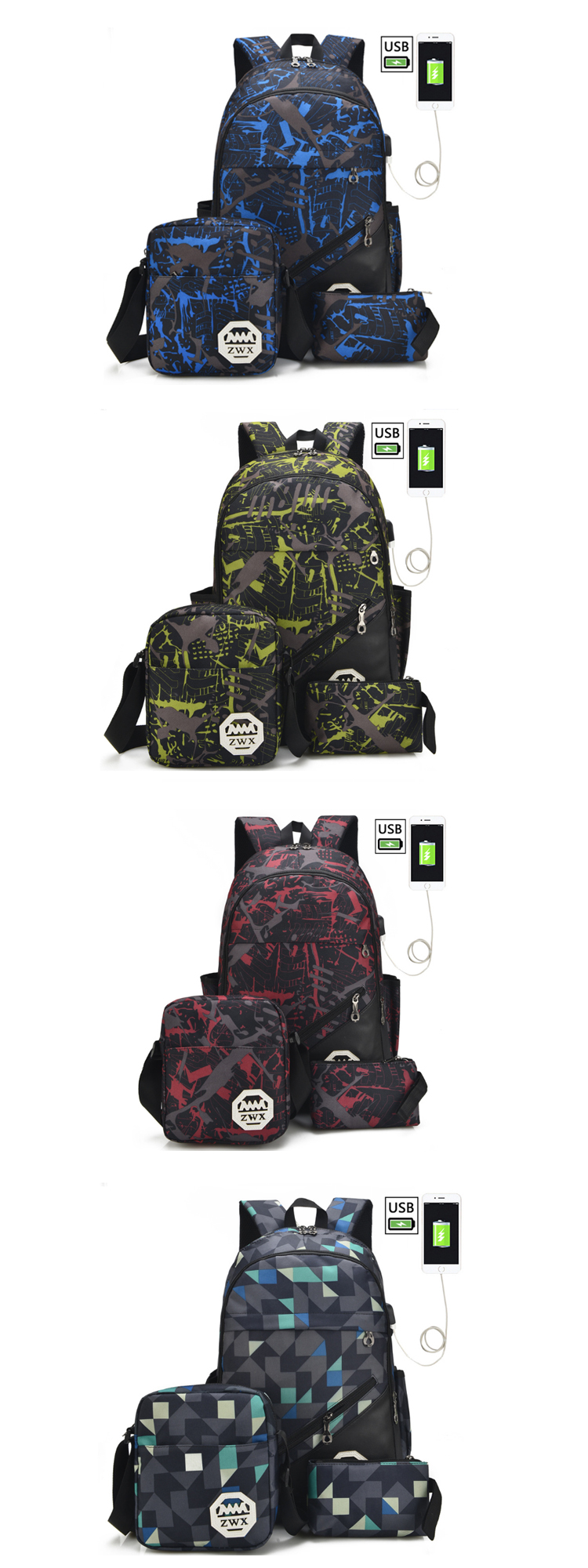 Osgoodway2 Wholesale Boys Backpack Printed 3 Pieces School Backpack Bag Set with USB Charger