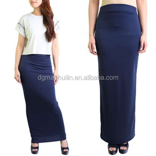 Woman Maxi Long jersey maxi skirt Pencil Skirt in Navy Blue
